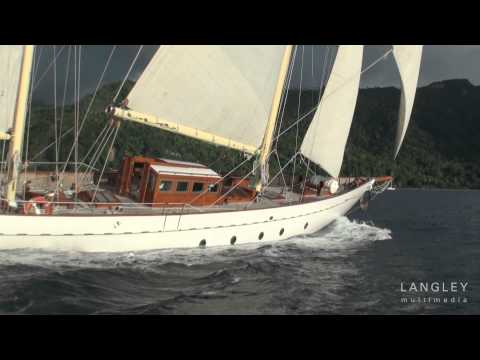 "Classic Yacht ""Sincerity"" Sailing off St. Lucia"