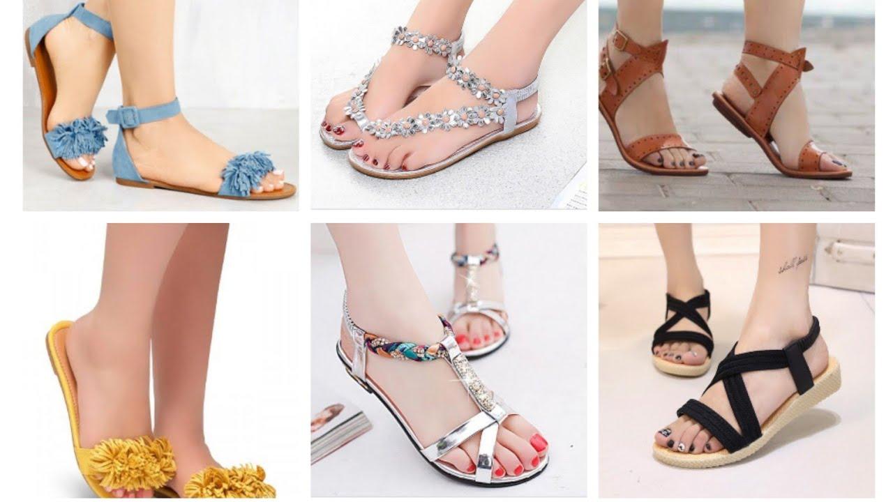 825c1fe35 Stylish Flat Sandals Collection 2019| Latest Beautiful Flat Sandals Designs  | College Wear Sandals