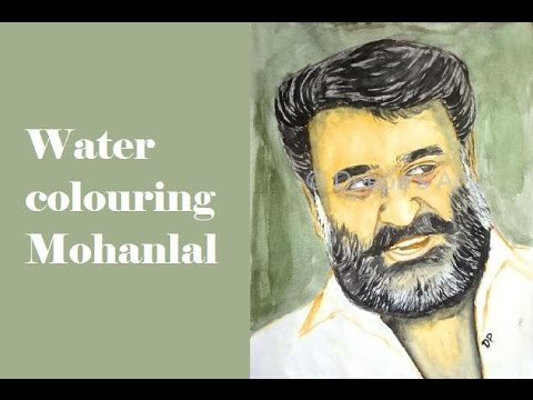 How to draw and paint actor Mohanlal using water colours