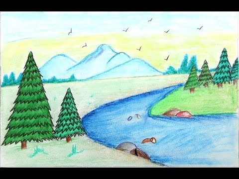 How to Draw a Landscape with oil pastel Step by Step – Easy and simple landscape for beginners