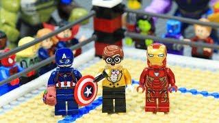 Lego Superhero Iron Man vs Captain America WWE Stop Motion Animation
