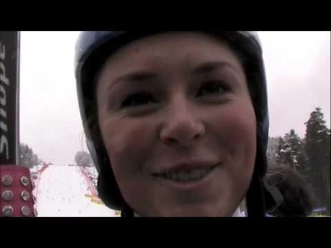 Lindsey Vonn between GS runs in Maribor 2010