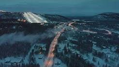 4K drone film of snowy winter nature & ski slopes in Levi, Finland