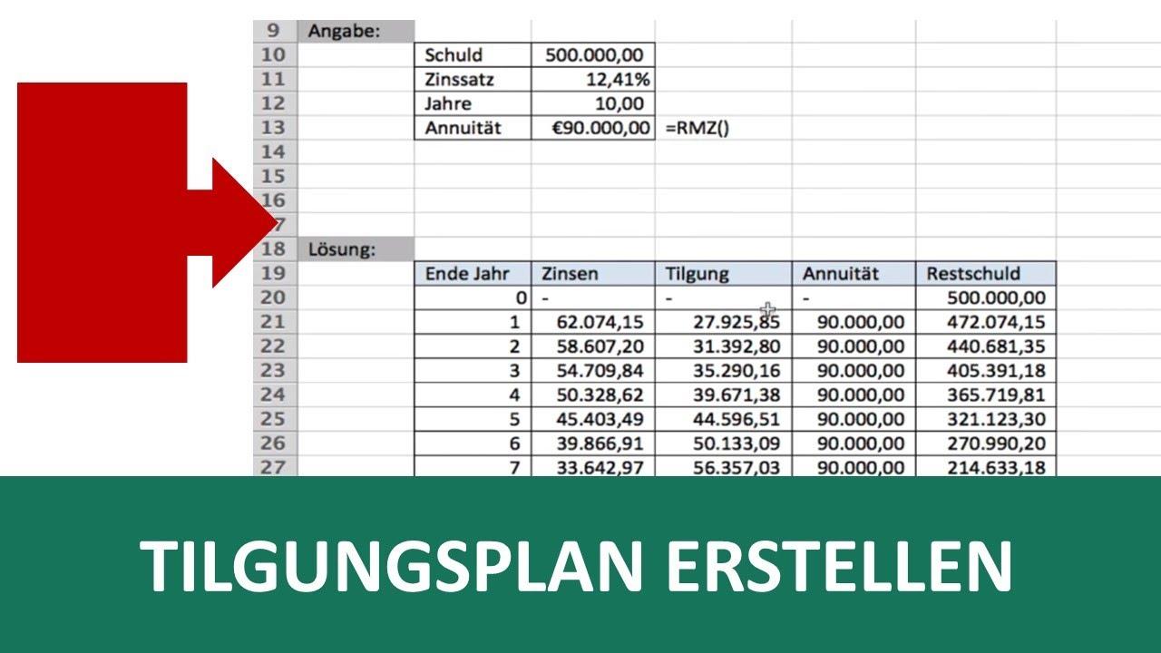 Tilgungsplan Vorlage In Excel I Excelpedia Youtube