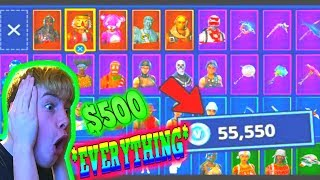 Kid spends $500 on his Mom's Credit Card in Fortnite Battle Royale to UNLOCK EVERY ITEM...