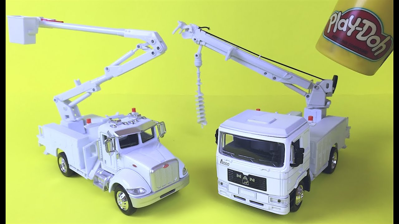Mighty machines toys peterbilt bucket truck man digger utility truck construction toys for kids youtube