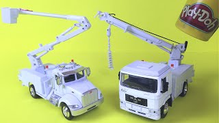 Mighty Machines toys Peterbilt Bucket truck & MAN Digger Utility Truck Construction Toys For kids