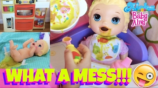 ☘️ Baby Alive Snackin' Lilly Eats Green Food that Skye Prepared in Her Kitchen & Makes a Huge Mess!