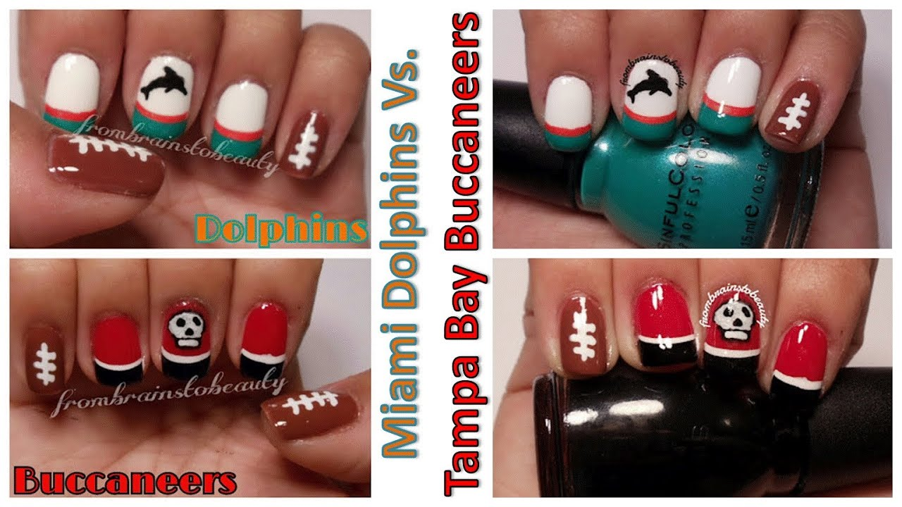 Miami Dolphins Vs Tampa Bay Buccaneers Nail Tutorial Youtube