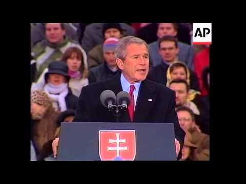 Bush addresses Slovaks, meets leaders, demo