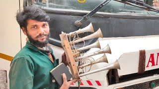 ASHOK LEYLAND BS4 BUS FIXING AIR HORN IN BUS & AMAZING HORNS!!!