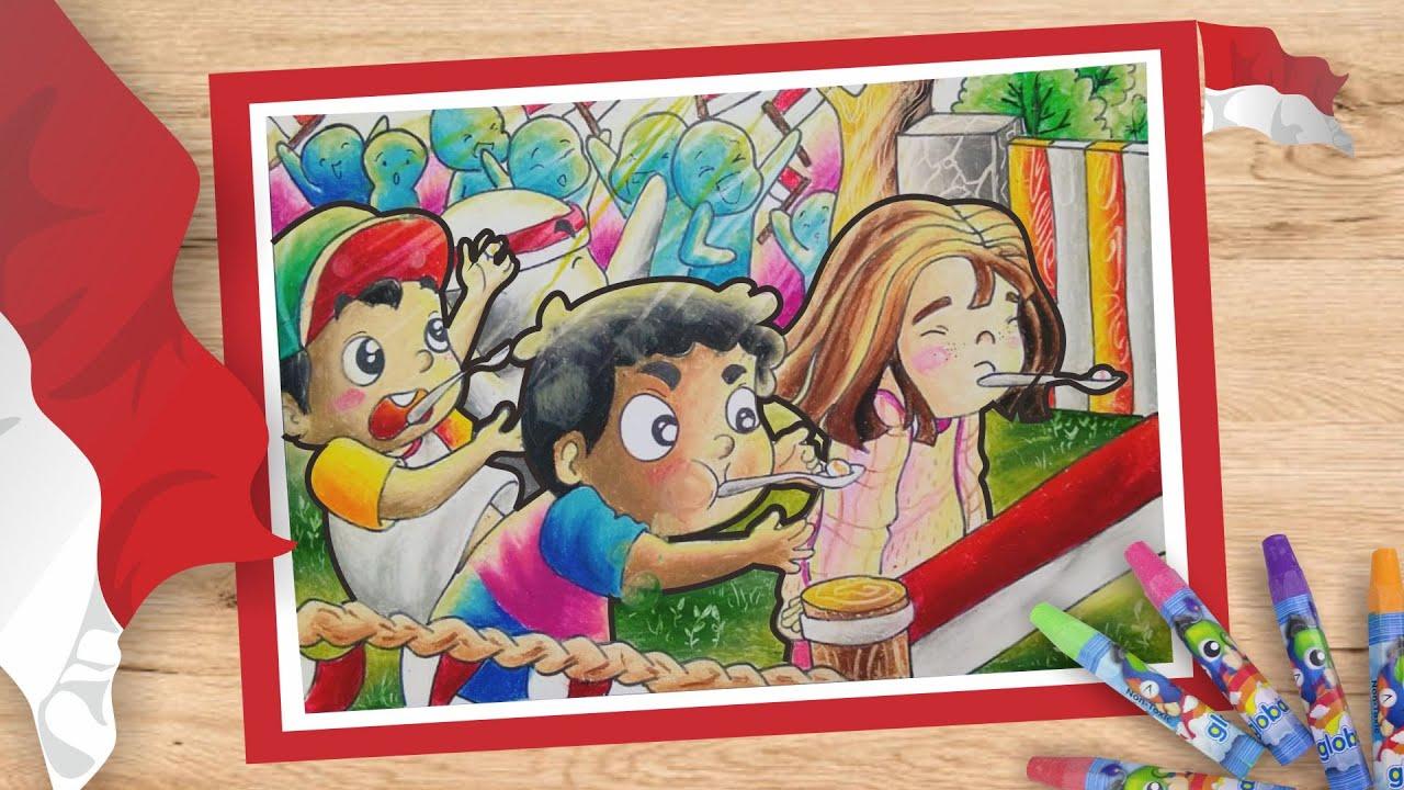 Cara Menggambar Tema Hari Kemerdekaan 17 Agustus Dengan Crayon Oil Pastel