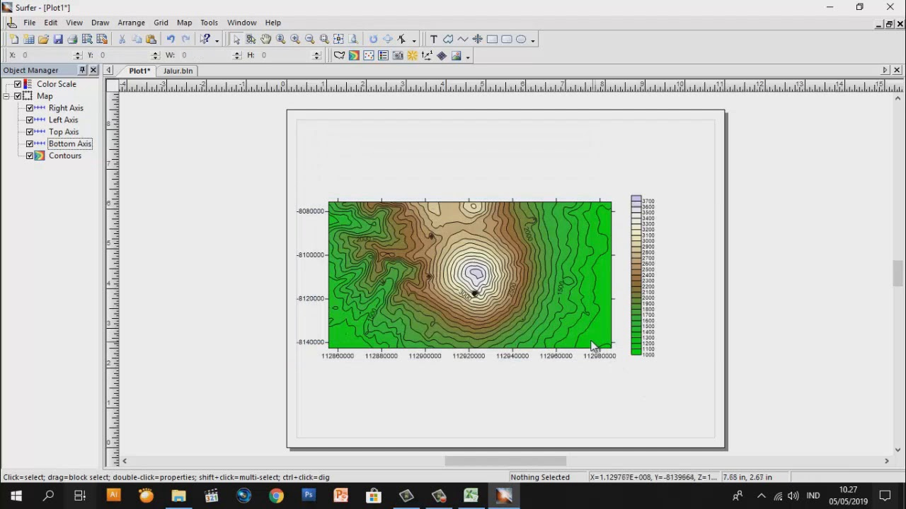 Surfer Tutorial - 2D Surface and Contour Maps with Google Earth, TCX  Converter, Excel and Surfer 9