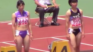 福田真衣(東京) 2015関東高校陸上 南関東女子 100m 準決勝1組