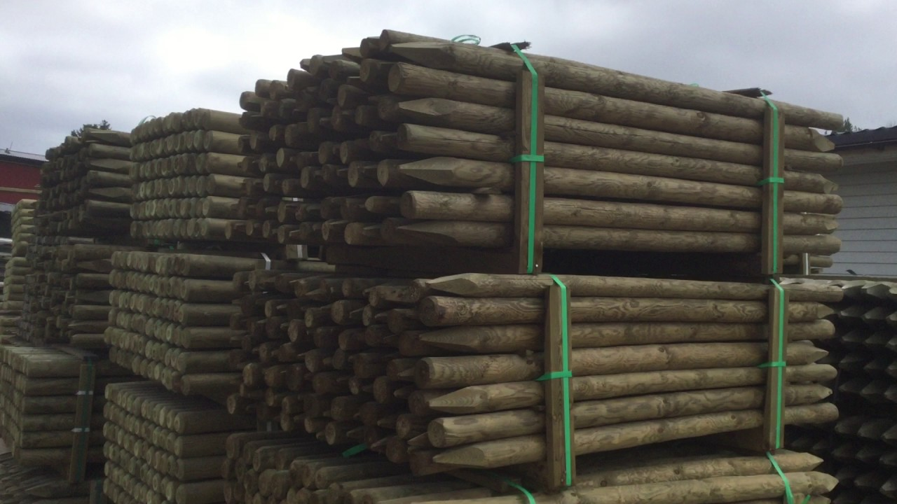 Pressure treated fence posts - YouTube