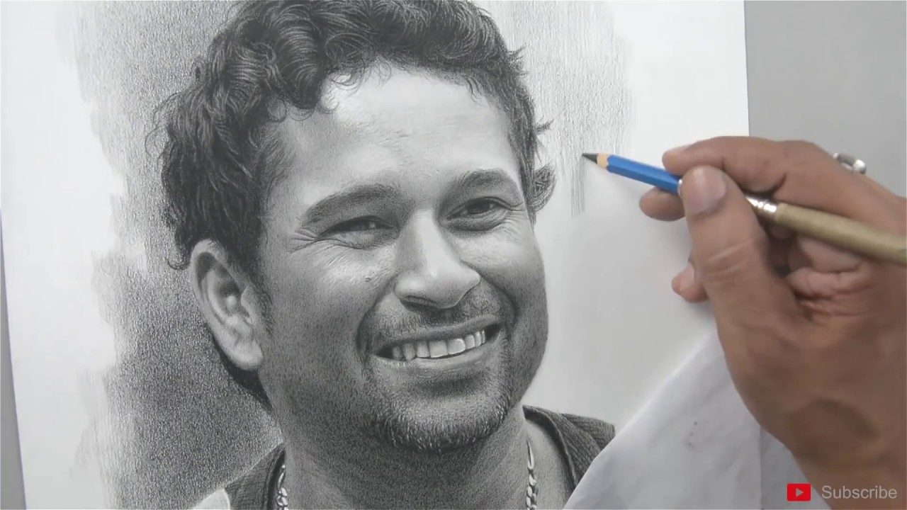 Happy birthday sachin tendulkar pencil art by sadashiv sawant