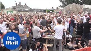 England fans go wild celebrating first goal against Croatia