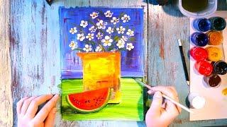 Как Нарисовать Невероятные РОМАШКИ/ Урок Рисования для Детей/ Рисуем Поэтапно/ How to draw a DAISY
