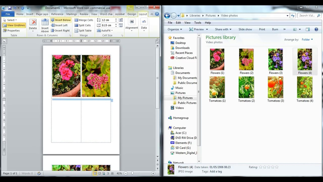 drag and drop photos or images into word document
