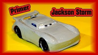Pixar Cars Primer Jackson Storm with Primer Lightning McQueen and Primer Sheriff from Cars 3