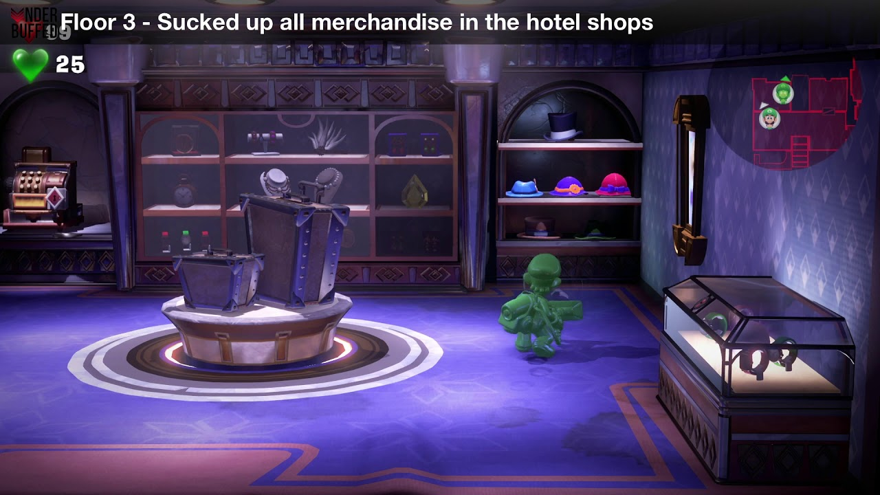 Luigi S Mansion 3 Floor 3 Achievement Sucked Up All Merchandise In The Hotel Shops