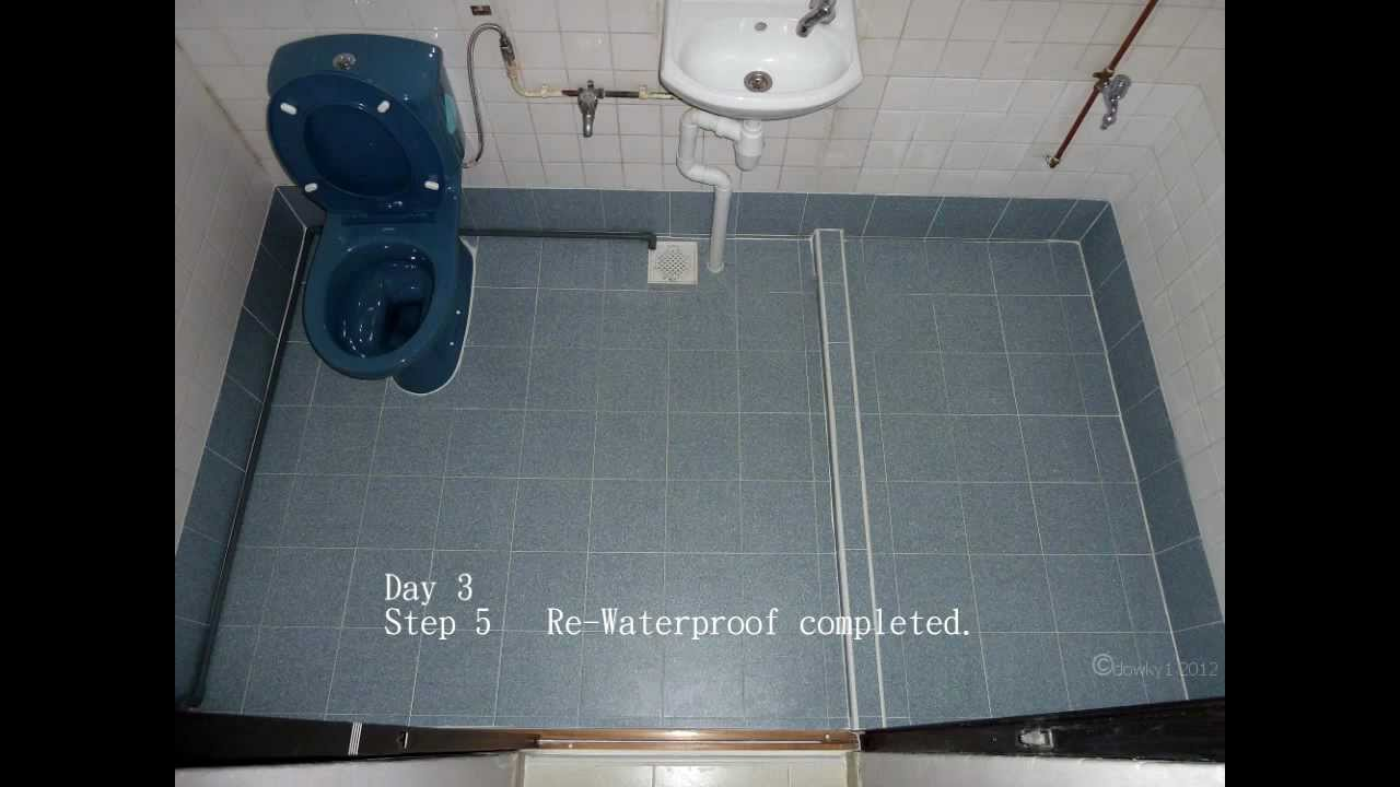 Re-waterproofing bath/toilet floor - Singapore HDB flat - YouTube