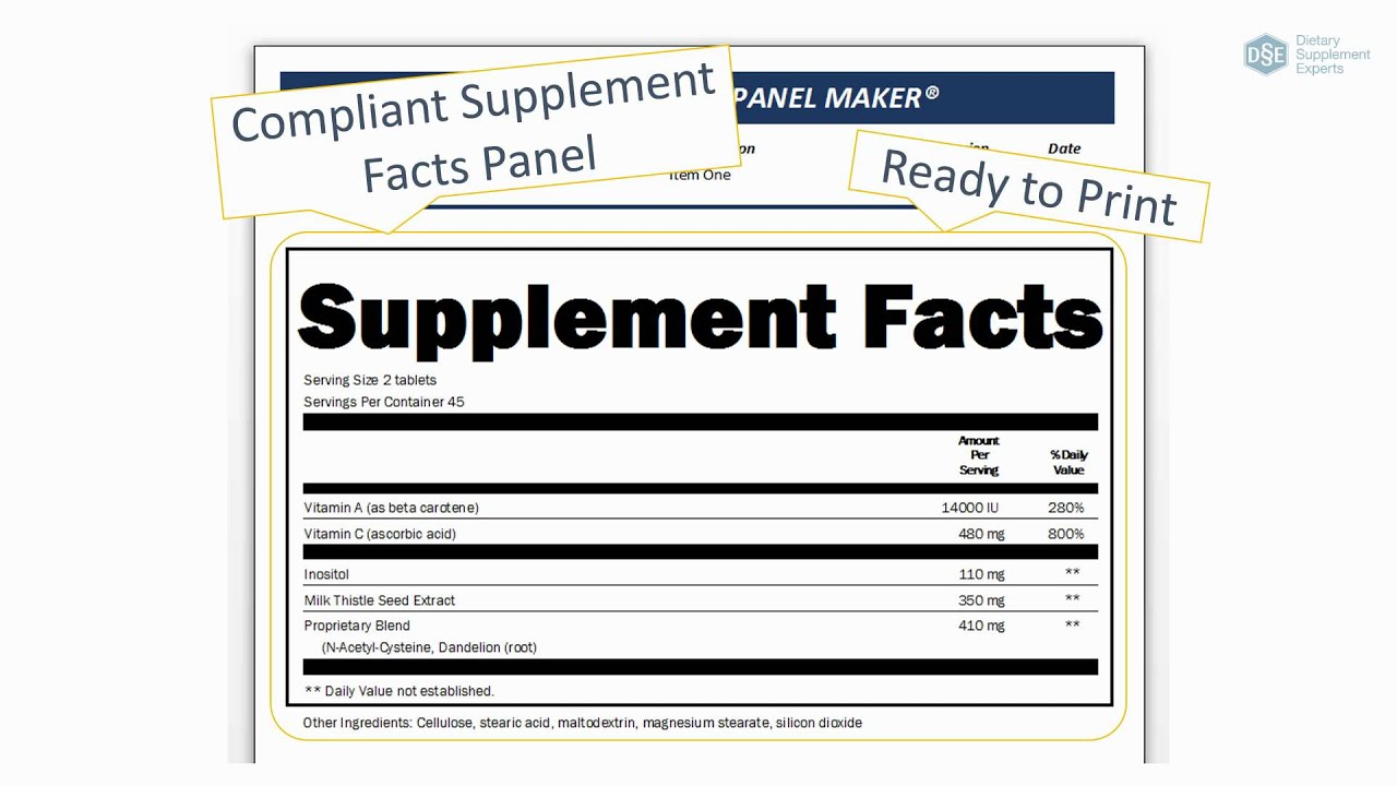 Nutrition facts panel generator besto blog for Supplement facts template