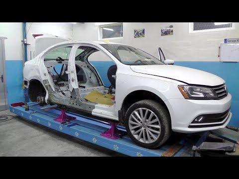Volkswagen Jetta. USA. Боковой. Повреждения. Установка на стапель.