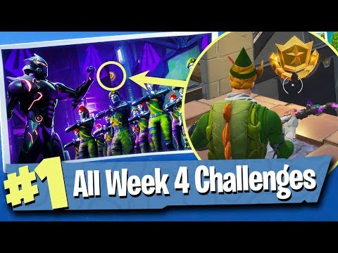 Fortnite WEEK 4 CHALLENGES Guide + Free Battle Pass Tier - Fortnite Battle Royale