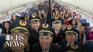 All-women Delta crew flies 120 girls to NASA to encourage female aviators