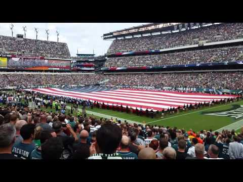 9-11 tribute and flyover at the Eagles game
