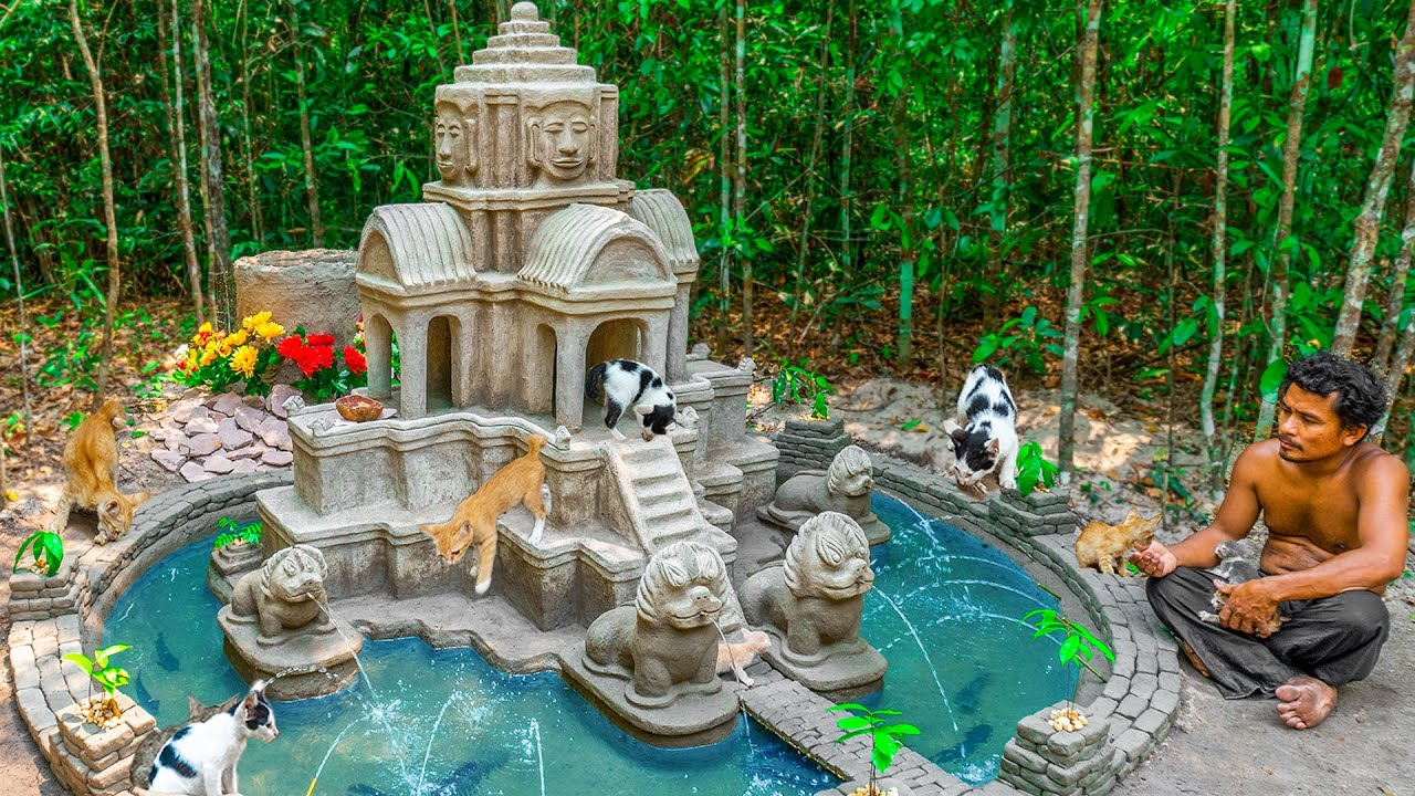 Rescue 3 Newborn Kitten From the Jungle Build the Ancient Temple Cat House