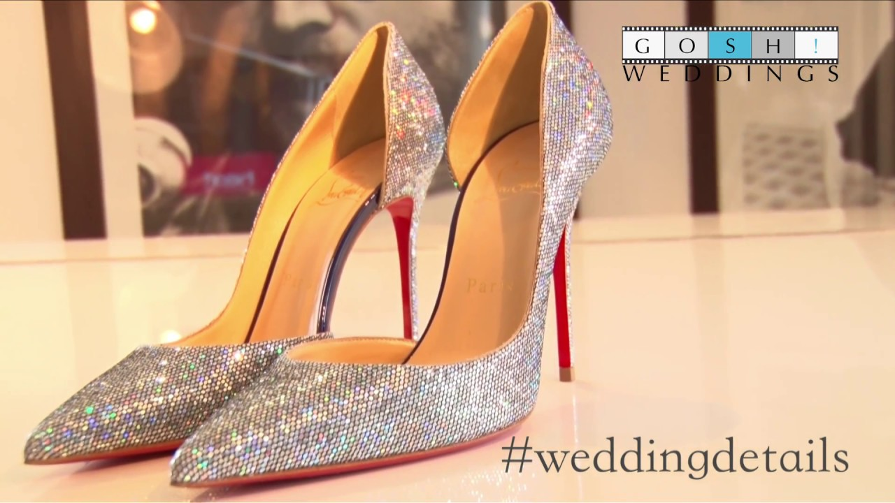 best website cc2cd ad14e Sparkly Christian Louboutin bridal shoes