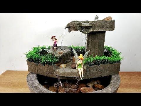 How to make amazing beautiful cemented fairy waterfall fountain water fountain