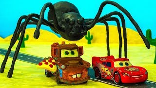 SPIDER UFO Mater PIZZA & Giant Lightning McQueen 🌩 Cars Toys Movies Stopmotion Cartoon