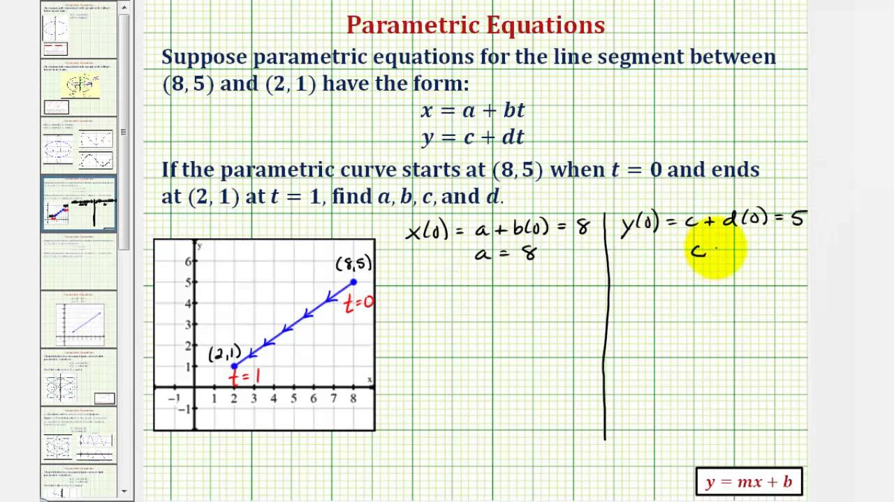 Find the Parametric Equations for a Line Segment Given an ...