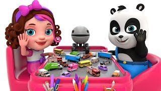 Learn Colors with Packman Cartoon Street Vehicles Toys - Pinky and Panda Toys TV