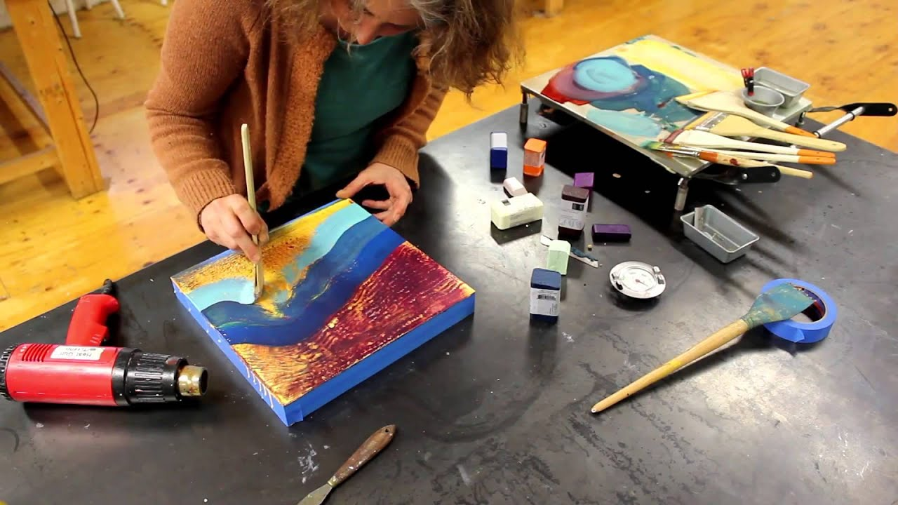 Encaustic painting demo with r f youtube for Homedepot colorsmartbybehr com paintstore