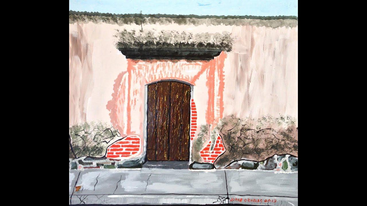 Pintura puerta vieja acr lico sobre papel cascar n for Puertas para casas antiguas