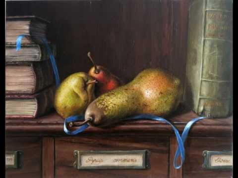 painting techniques Daniel C. Chiriac fine art oil painting speed painting pears & books still life