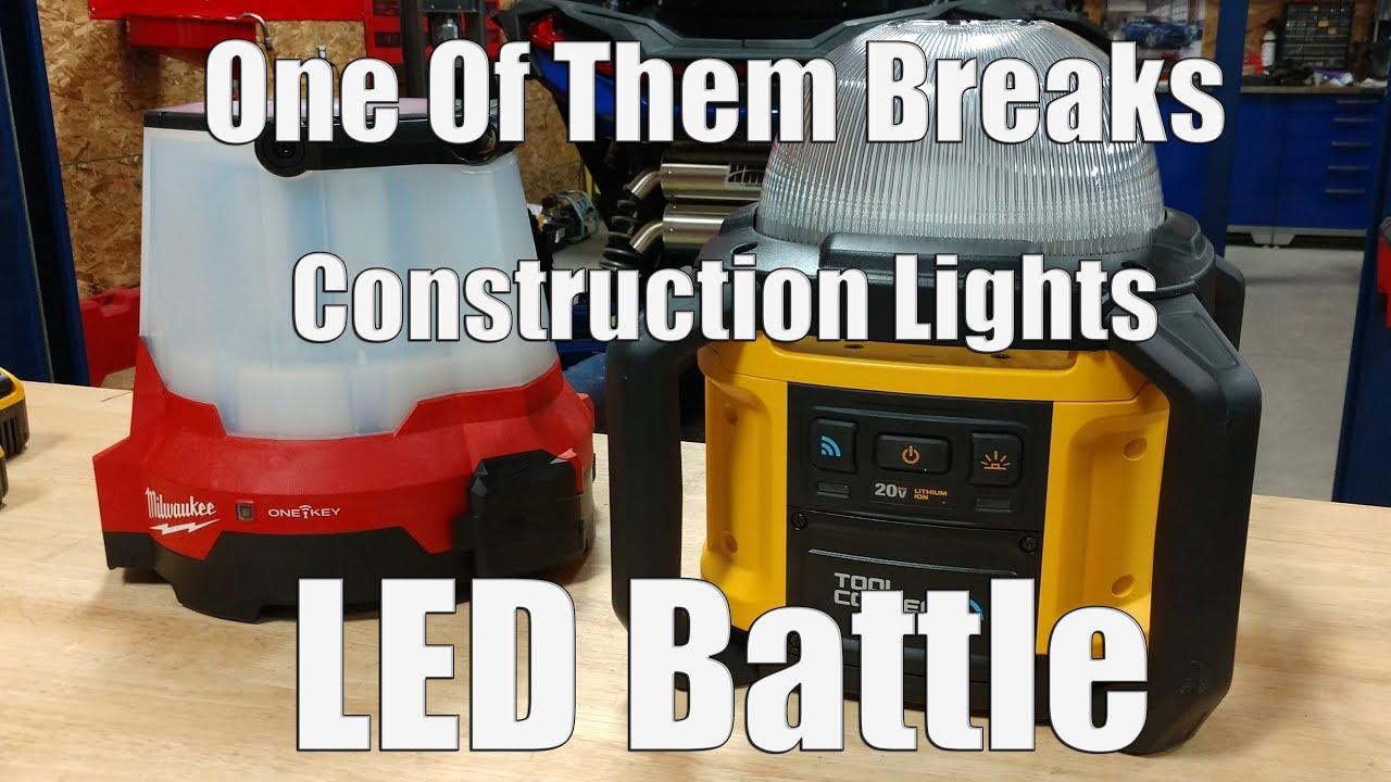 DEWALT DCL074 Tool Connect 20V LED Work Light Vs Milwaukee M18 Radius LED Site Light 2146-20