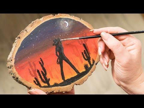 The Cowboy Girl in the Sunset Desert - Acrylic painting / Homemade Illustration (4k)