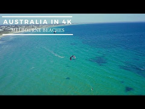 Melbourne, Australia, 4k Mavik Pro drone footage of beaches inc kite surfers