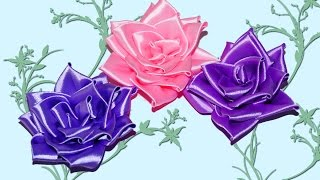 DIY crafts Ribbon flowers how to make: rose from satin ribbon / tutorial / DIY beauty and easy.