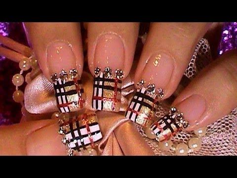 Golden Burberry Pattern Nail Art Design Tutorial Youtube