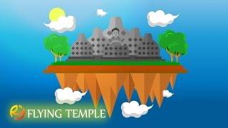 How to make vector flat design in adobe illustrator, flying temple concept