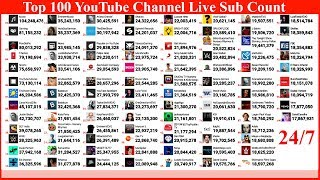 TOP 100 YouTubers in World Sub Count LIVE - Pewdiepie vs T-Series & more 98 Channels in World