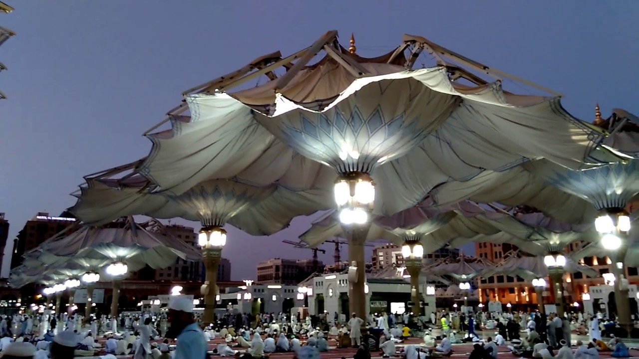 High Tech Giant Umbrellas Opening Scene Live Masjid Al