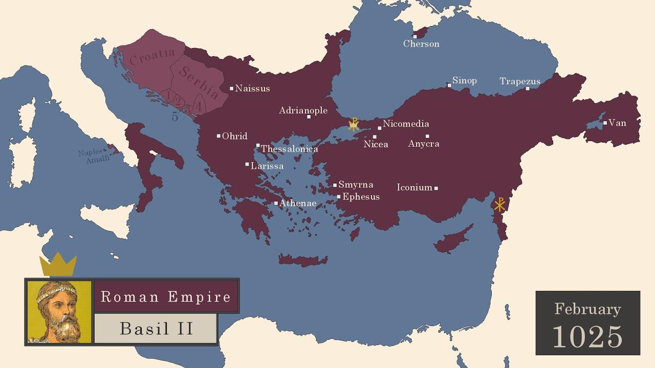 Mapa do Império Bizantino mês a mês de 395 a 1453