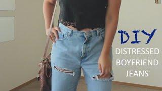 DIY DISTRESSED JEANS (Boyfriend Jeans)♡ Thumbnail
